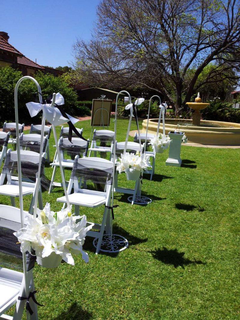 Faux White Orientals in white wedding buckets
