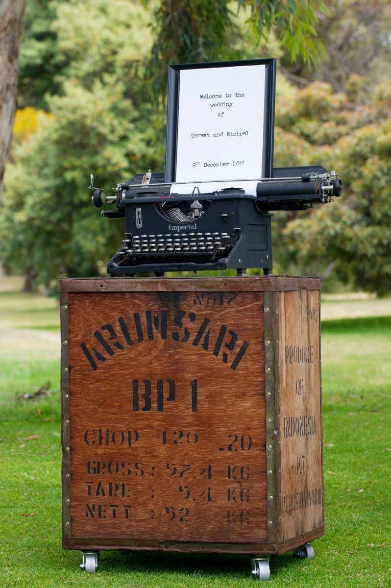 Vintage Tea Chest - Pedestal base for Vintage Typewriter